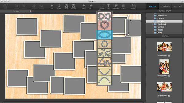 Customize templates in Ephnic Photo Collage for Mac