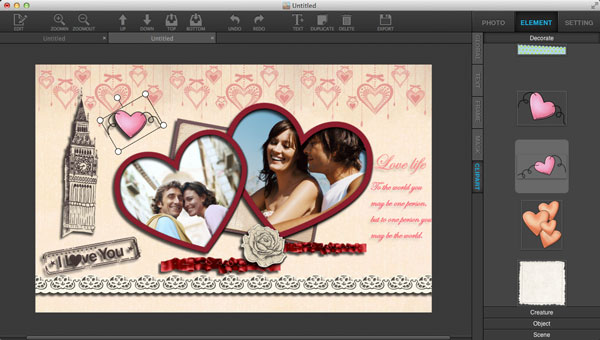 Decorate collages in Ephnic Photo Collage for Mac