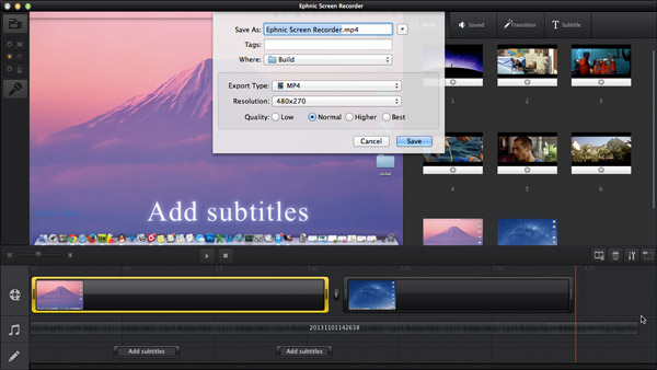 Set output format in Ephnic Screen Recorder for Mac
