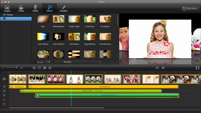 Add Transition effects in Ephnic Movie Maker for Mac