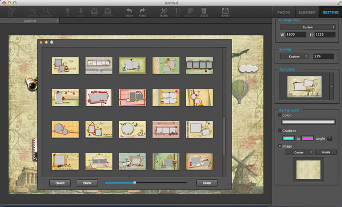 Select Collage Templates in Ephnic Photo Collage for Mac