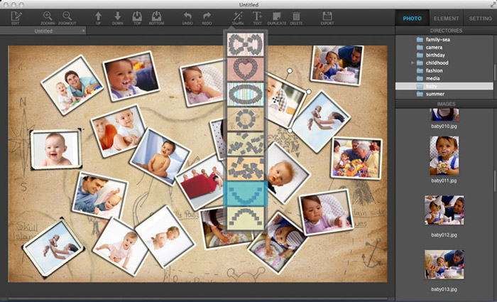 Select Layouts in Ephnic Photo Collage for Mac