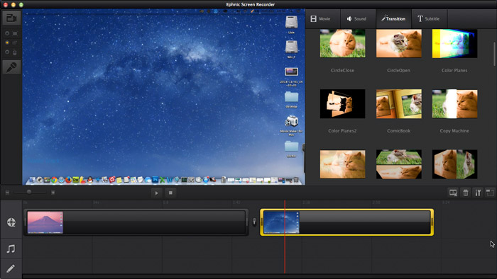 Add Transitions in Ephnic Screen Recorder for Mac